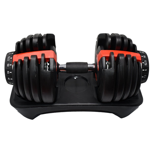 Adjustable Dumbbell Weight for Home Gym - 5 to 52.5 lbs - Black and Red