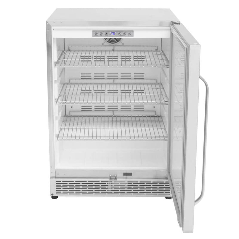 Whynter Energy Star 24″ Built-in Outdoor 5.3 cu.ft. Beverage Refrigerator Cooler Full Stainless Steel Exterior with Lock and Optional Caster Wheels BOR-53024-SSW