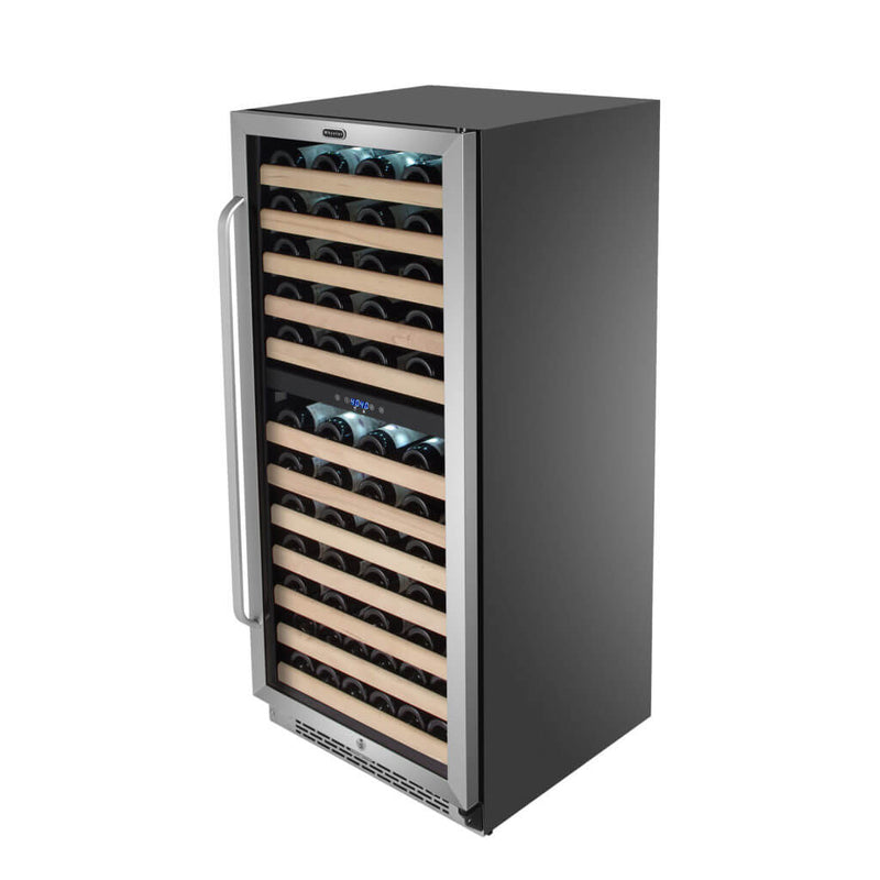 Whynter 92 Bottle Built-in Stainless Steel Dual Zone Compressor Wine Refrigerator with Display Rack and LED display BWR-0922DZ