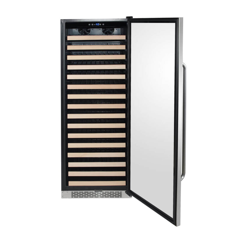 Whynter 166 Bottle Built-in Stainless Steel Compressor Wine Refrigerator with Display BWR-1662SD Rack and LED display