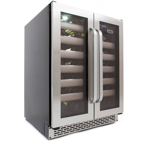 Whynter Elite 40 Bottle Seamless Stainless Steel Door Dual Zone Built-in Wine Refrigerator BWR-401DS
