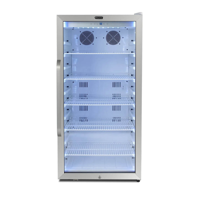 Whynter Freestanding 8.1 cu. ft. Stainless Steel Commercial Beverage Merchandiser Refrigerator with Superlit Door and Lock – White  CBM-815WS