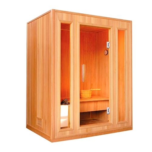 CED3KUPA 3 Person Canadian Red Cedar Wood Indoor Wet Dry Sauna with 3 kW ETL Electrical Heater