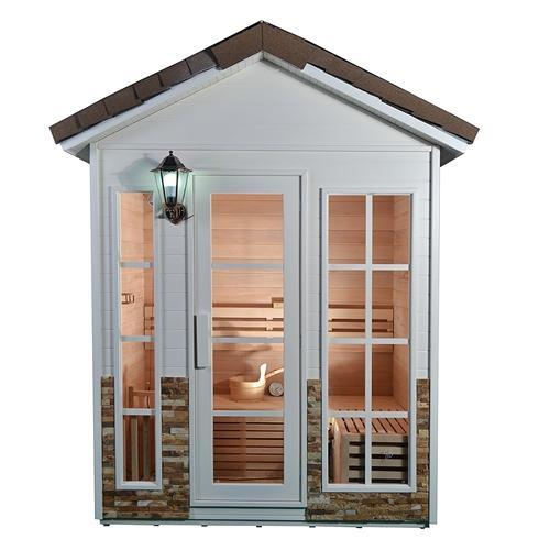 Outdoor Canadian Red Cedar Wood Wet Dry Sauna - 4 Person - 4.5 kW ETL Electrical Heater - Stone Finish