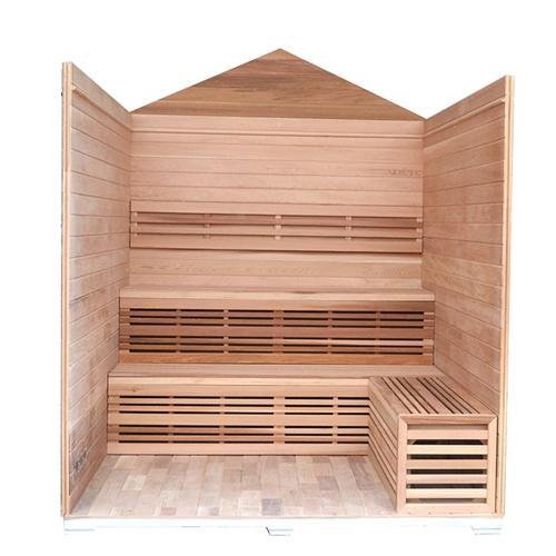 CED6PORI Outdoor Canadian Red Cedar Wet Dry Sauna - 6 Person - 6 kW ETL Electrical Heater - Stone Finish