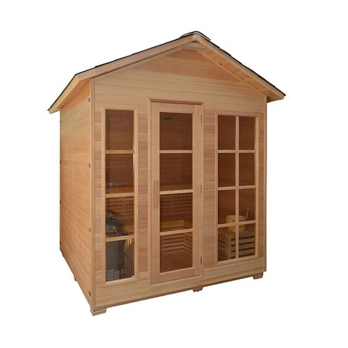 CED6VAASA 6 Person Canadian Red Cedar Outdoor and Indoor Wet Dry Sauna with 6 kW ETL Electrical Heater