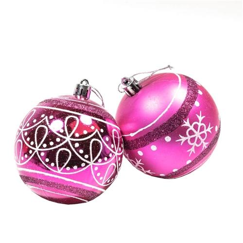 Shatterproof - Winter Print Ornament Holiday Set with Decorative Box - Set of 12 - Hot Pink