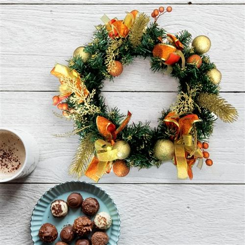 Decorative Holiday Christmas Wreath - Gold and Orange Accented