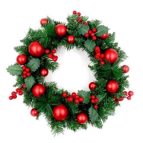 Decorative Holiday Christmas Wreath - Green and Red