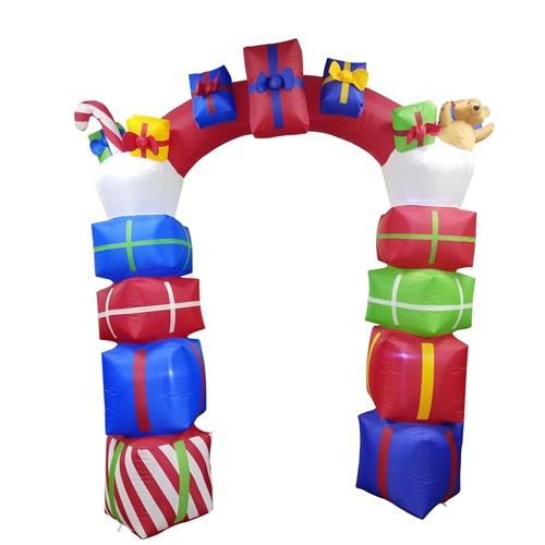 Giant Inflatable Gift Stacked Archway with UL Certified Blower and LED Lights - 8 Foot