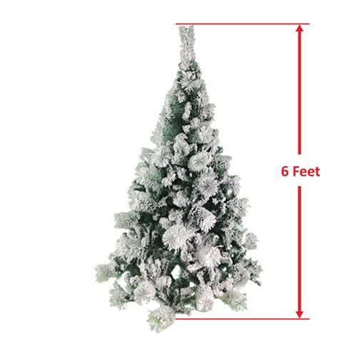 Snow Dusted Artificial Holiday Christmas Tree - 6 Foot - with Green Metal Stand