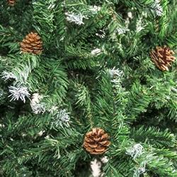 Artificial Indoor Christmas Holiday Pine Tree - 8 Foot - with White Tips and Decorative Pine Cones
