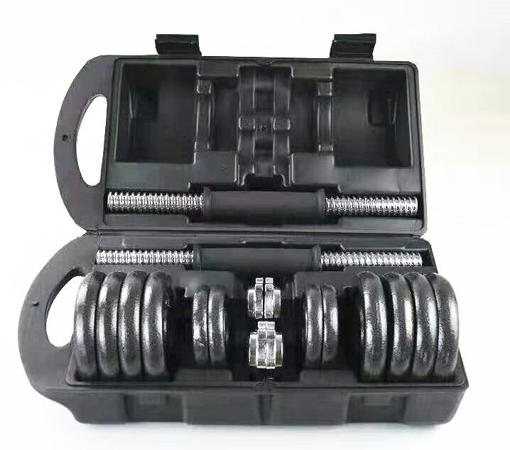 Cast Iron Adjustable Dumbbell Set for Home Gym - 44 lbs (20 kg) - Black