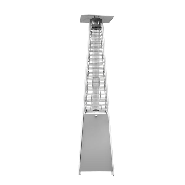 Outdoor Patio Pyramid Propane Space Heater with Adjustable Thermostat - Silver