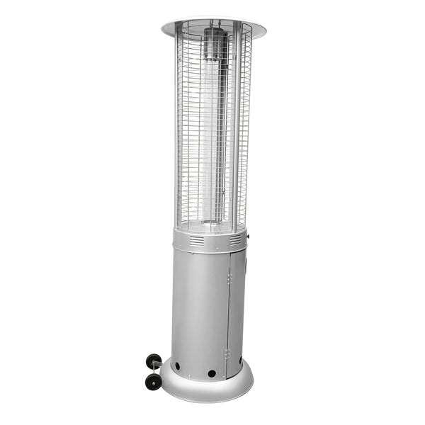 Outdoor Patio Cylinder Propane Space Heater with Adjustable Thermostat - Silver