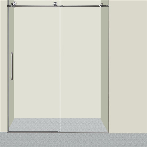 3/8'' Glass Sliding Shower Door - 60 x 76 Inches - Brushed Nickel