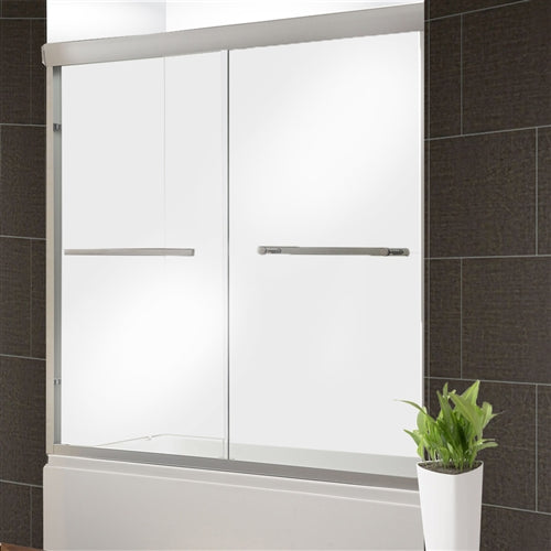 1/4'' Glass Dual Sliding Shower Door - 60 x 76 Inches - Brushed Nickel
