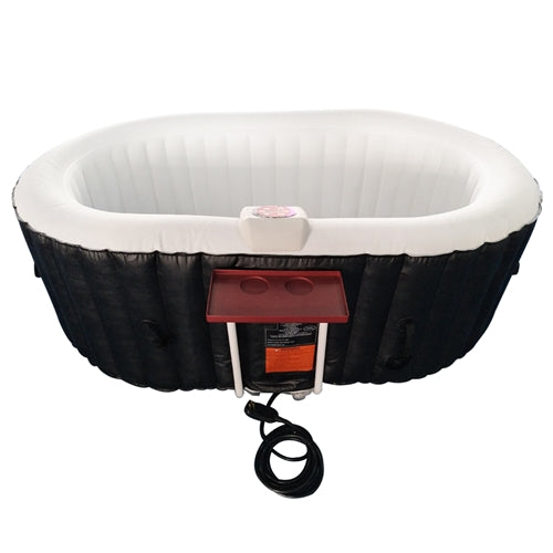 Oval Inflatable Hot Tub Spa With Drink Tray and Cover - 2 Person - 145 Gallon - Black and White