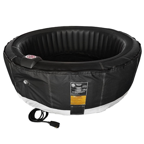 Round Inflatable Hot Tub Spa With Zip Cover - 4 Person - 210 Gallon - Black