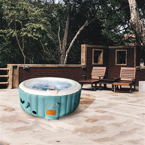 Round Inflatable Hot Tub Spa With Cover - 4 Person - 210 Gallon - Light Blue and White