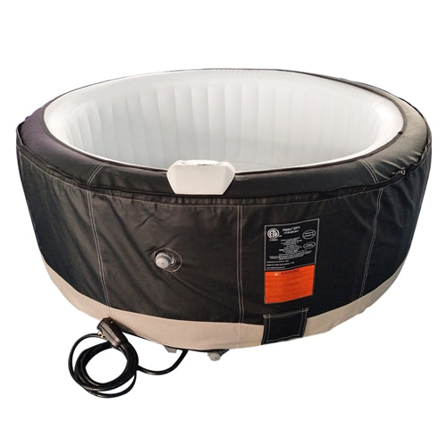 Round Inflatable Hot Tub Spa With Zip Cover - 6 Person - 265 Gallon - Black and White