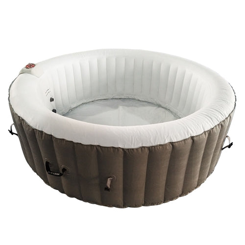 Round Inflatable Hot Tub Spa With Cover - 4 Person - 210 Gallon - Brown and White