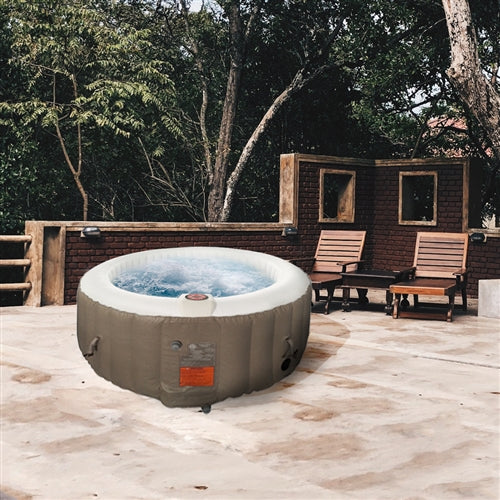 Round Inflatable Hot Tub Spa With Cover - 6 Person - 265 Gallon - Brown and White