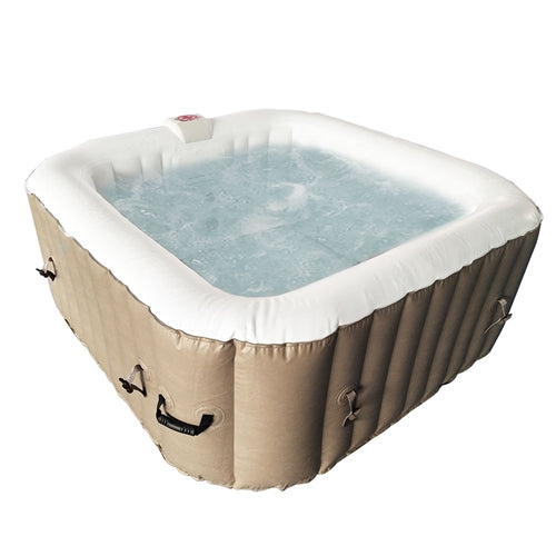 Square Inflatable Hot Tub Spa With Cover - 6 Person - 250 Gallon - Brown and White