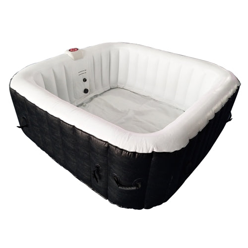 Square Inflatable Hot Tub Spa With Cover - 6 Person - 250 Gallon - Black and White