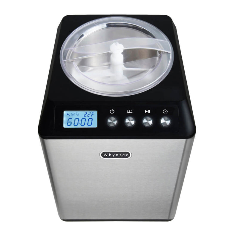 Whynter 2.1 Quart Capacity Upright Automatic Compressor Ice Cream Maker with Stainless Steel Bowl in Black ICM-201SB