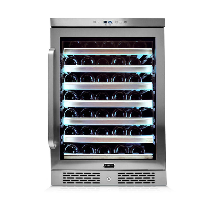 Whynter Elite Spectrum Lightshow 54 Bottle Stainless Steel 24 inch Built-in Wine Refrigerator with Touch Controls and Lock BWR-545XS