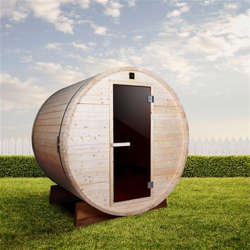 Outdoor and Indoor White Pine Barrel Sauna - 5 Person - 4.5 kW ETL Certified Heater