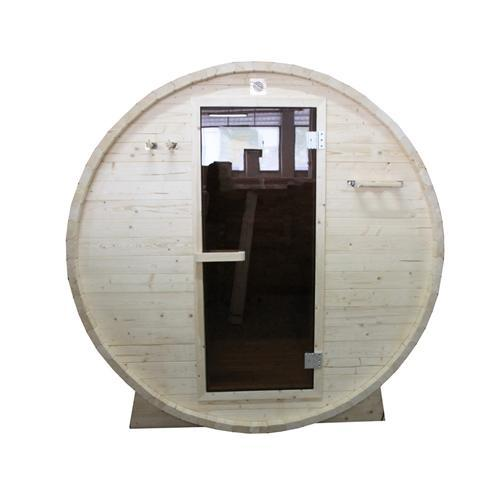 Outdoor or Indoor White Pine Wet Dry Barrel Sauna - 6 kW ETL Certified Heater - 6 Person