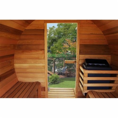 Red Cedar Barrel Sauna with Panoramic View - 9 kW ETL Certified Heater - 7 Person
