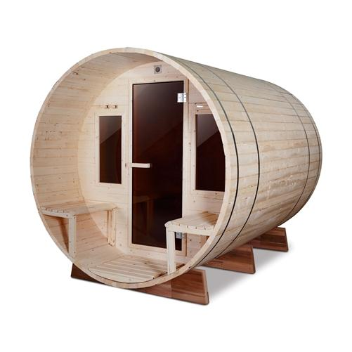 Outdoor White Pine Barrel Steam Sauna - Front Porch Canopy - ETL Certified - 4 Person
