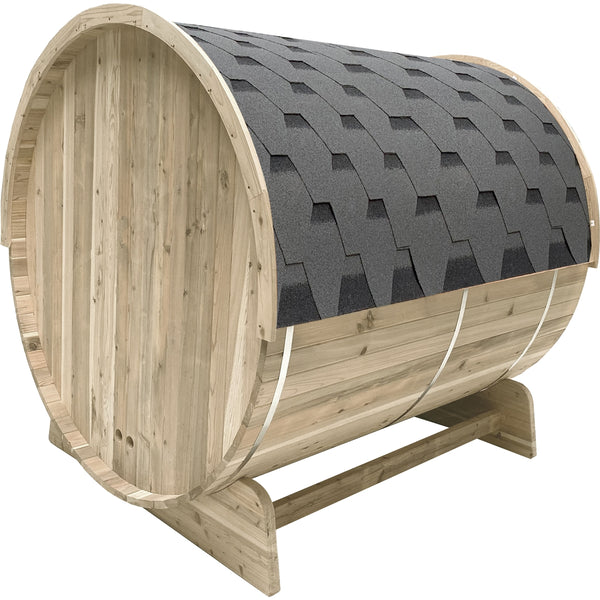 Outdoor Pine Barrel Sauna with Bitumen Shingle Roofing - 6 Person - 6 kW ETL Certified Heater