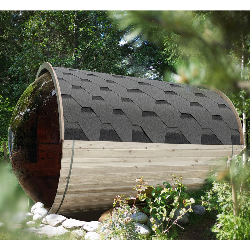 Outdoor Pine Barrel Sauna with Panoramic View and Bitumen Shingle Roofing - 6 Person - 6 kW ETL Certified Heater