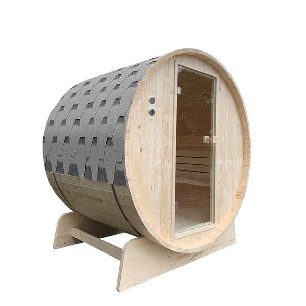 Outdoor Pine Barrel Sauna with Bitumen Shingle Roofing - 4 Person - 4.5 kW ETL Certified Heater