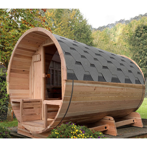 Outdoor Rustic Cedar Barrel Sauna with Panoramic View and Bitumen Shingle Roofing - 4 Person - 4.5 kW ETL Certified Heater