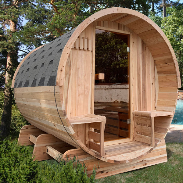 Outdoor Rustic Cedar Barrel Sauna with Panoramic View and Bitumen Shingle Roofing - 6 Person - 6 kW ETL Certified Heater