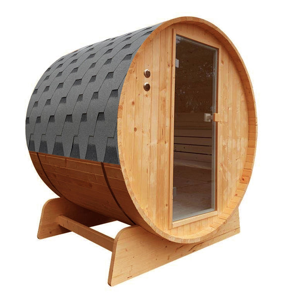 Outdoor Rustic Cedar Barrel Steam Sauna with Bitumen Shingle Roofing - 6 Person - 6 kW ETL Certified Heater