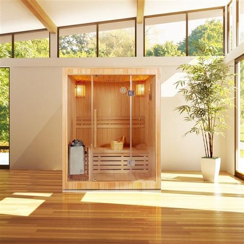 Canadian Hemlock Indoor Wood Wet Dry Sauna - 3 kW ETL Certified Heater - 3 Person