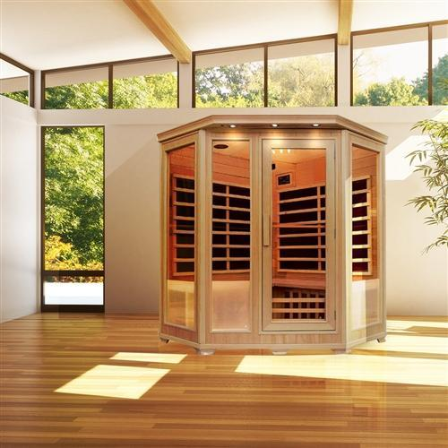 Canadian Hemlock Indoor Dry Infrared Sauna - 9 Carbon Fiber Heaters - 3 to 4 Person