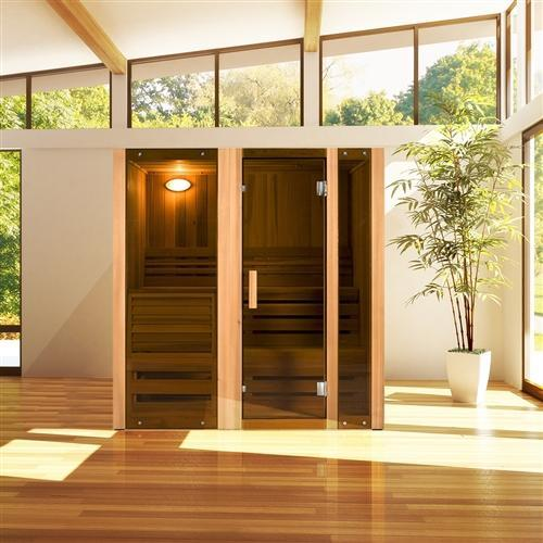 Canadian Cedar Indoor Wet Dry Steam Room Sauna - 6 kW ETL Certified Heater - 6 Person