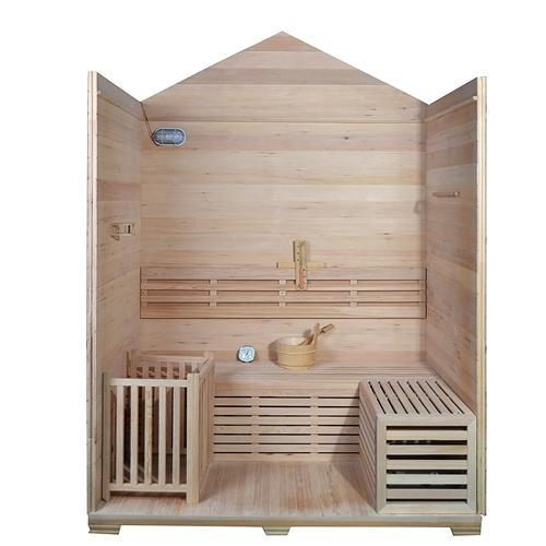 Canadian Hemlock Outdoor Wet Dry Sauna - 4.5 kW ETL Certified Heater - Stone Finish - 4 Person