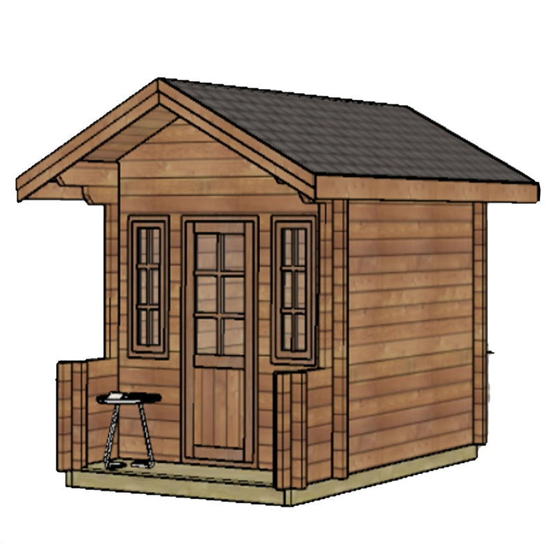 Wooden DIY Outdoor Studio-Home Cabin and Cottage Space with Front Porch