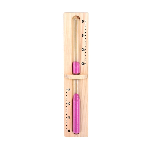 Pine Wall-Mounted Sauna Rotating Sand Timer - 15 Minute - Pink - Rectangle Corners