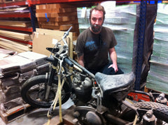 Eric M with one of Bill's vintage motorcycles