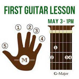 Free First guitar lesson graphic - May