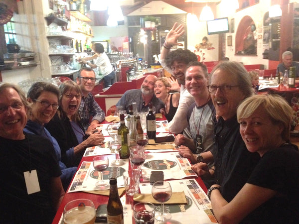 Jim and Crew at Dinner in Sarza Italy